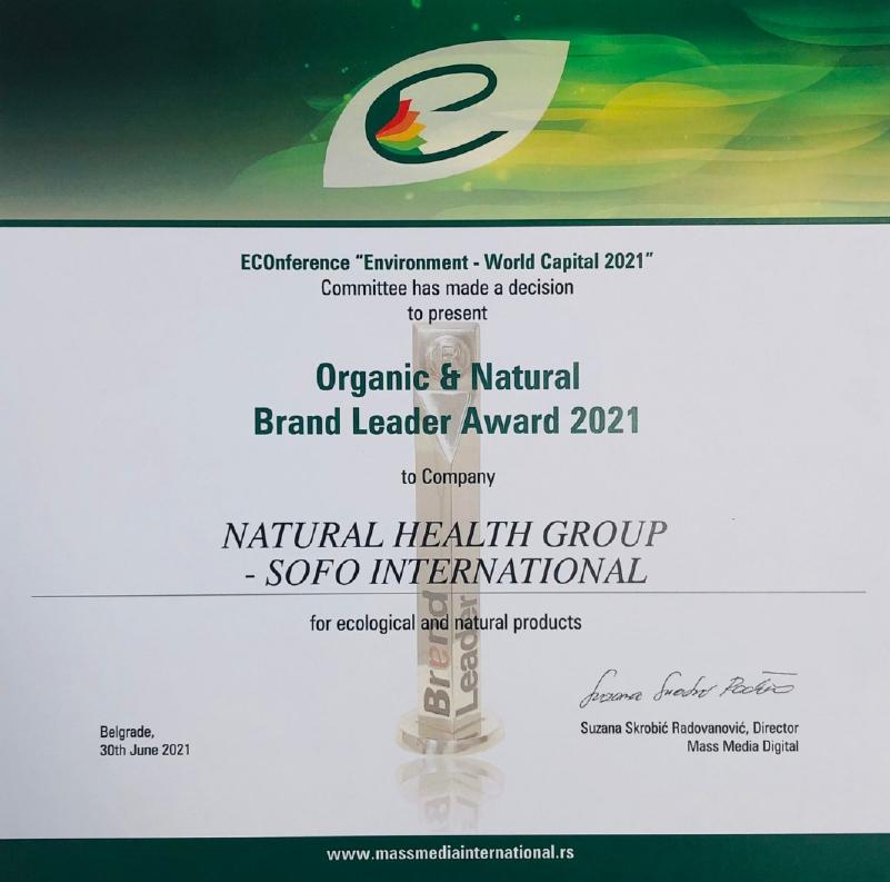 Sertifikat za Brand Leader Award 2021